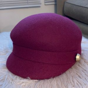 Burgundy News Boy Hat with gold buttons